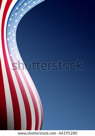 Usa flag wave over blue background. Illustration - stock photo