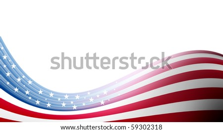 Usa flag waves on white background. Illustration - stock photo