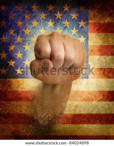 USA flag with fist.