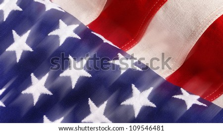 USA Flag With Movement. - stock photo