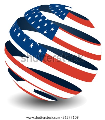 USA flag with peeling effect - stock photo