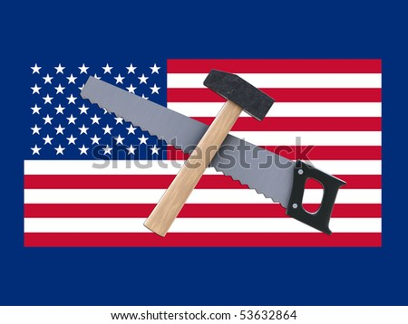 usa flag with tools