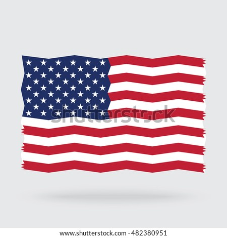 USA flag zigzag isolated on background