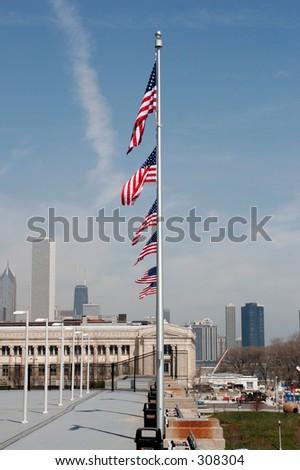USA Flags - stock photo