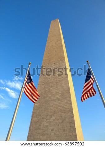 USA Flags in the Washington Monument - stock photo