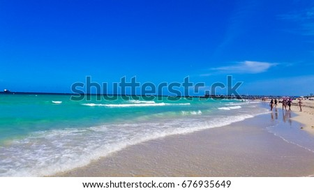 USA. FLORIDA. MIAMI BEACH. JULY - 3, 2017: Ocean and waves in Miami South beach.