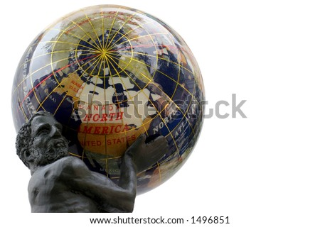 USA Globe - Atlas holding America's weight - Reflections on a semi-precious stones globe. - stock photo