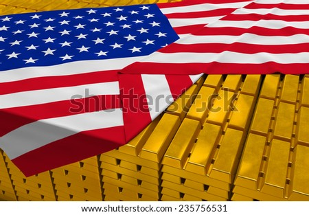USA gold reserve stock: golden bars (ingots) are covered with american flag in the storage (treasury) as symbol of national gold and foreign currency reserves, financial health, economic growth - stock photo
