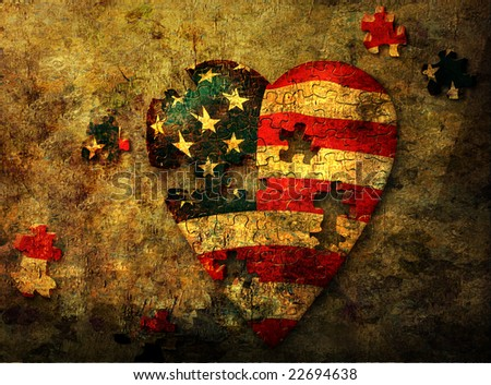 USA grunge heart - stock photo