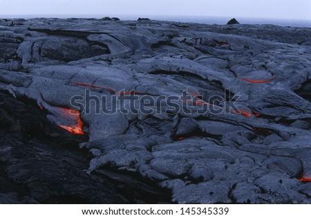 USA Hawaii Big Island Volcanos National Park cooling lava - stock photo