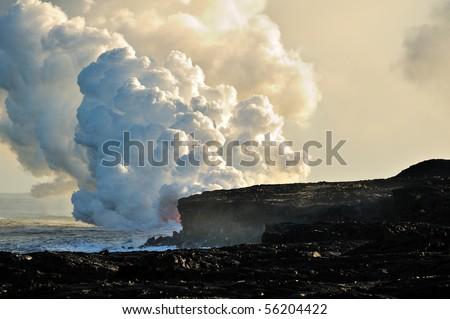 USA, Hawaii, Kilauea volcano. Lava tube in the sea. - stock photo