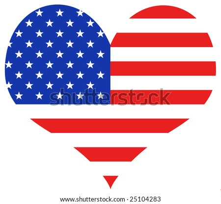 USA heart - stock photo