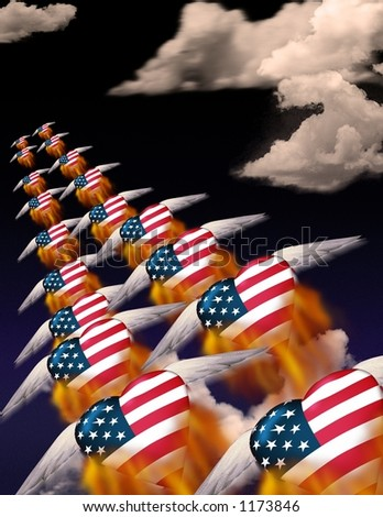 USA hearts fly in formation - stock photo
