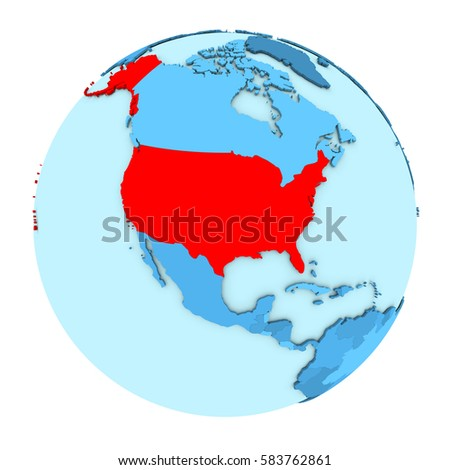 usa in red on simple political globe with clearly visible country borders 3d ilration isolated