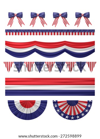 USA  independence day decoration borders set isolated on white. - stock photo