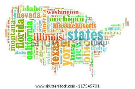USA info-colorful text graphic and arrangement composed in USA map concept on white background - stock photo