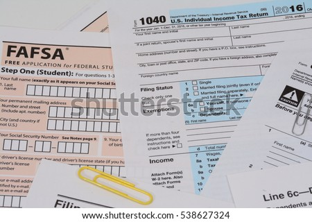 Usa Irs Form 1040 Fafsa Form Stock Photo Edit Now Shutterstock