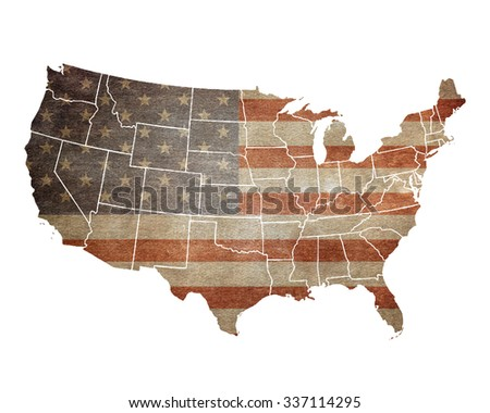USA map. American flag - stock photo