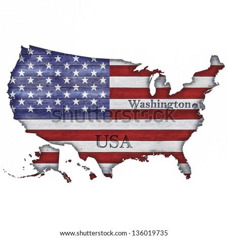 USA Map and Flag on Wood - stock photo
