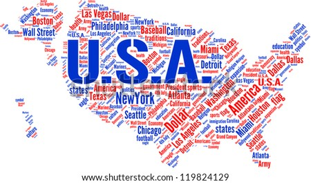 USA map and words cloud with larger cities - stock photo