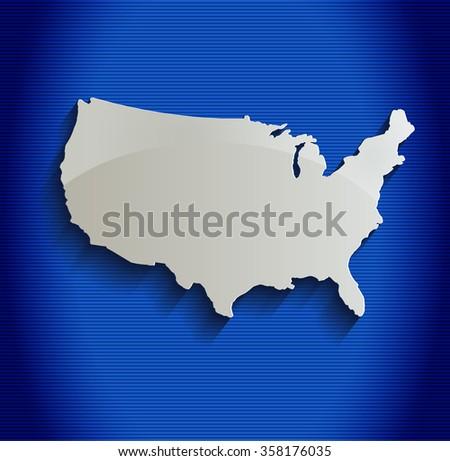 USA map blue line 3D raster - stock photo