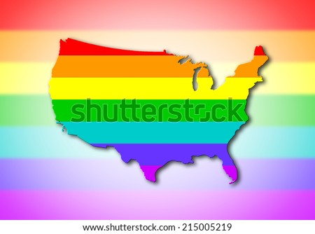 USA - Map, filled with a rainbow flag pattern - stock photo