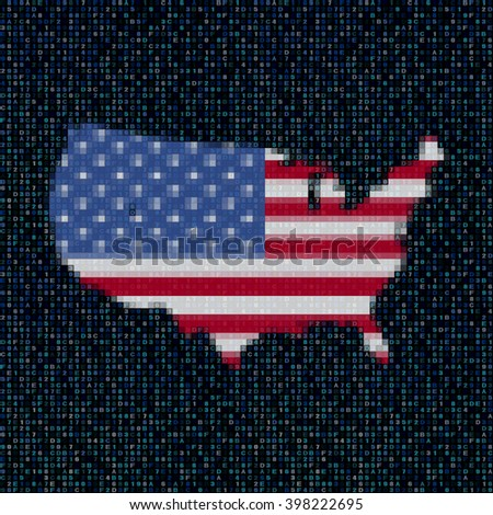 USA map flag on hex code illustration - stock photo