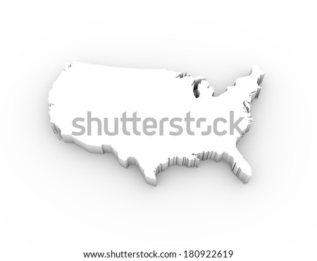 USA map in white and including a clipping path. High quality 3D illustration.  - stock photo