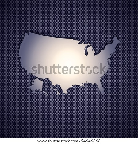 USA map isolated on metal background. - stock photo