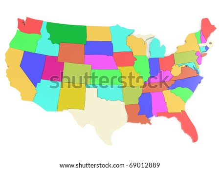 USA Map Isolated on white - 3d illustration - stock photo