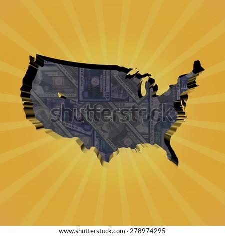 USA map on dollars sunburst illustration - stock photo