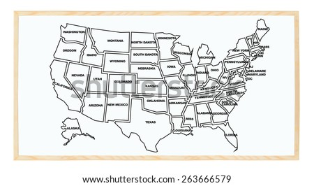Hand Drawn Us Map On Chalkboard Stock Vector Shutterstock - Us map whiteboard