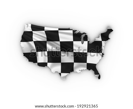USA map showing a checkered flag . High quality 3D illustration. - stock photo
