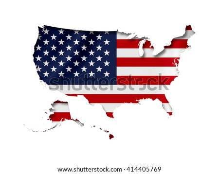 Vector Usa Map Icon Usa Flag Stock Vector Shutterstock - Us map with glag