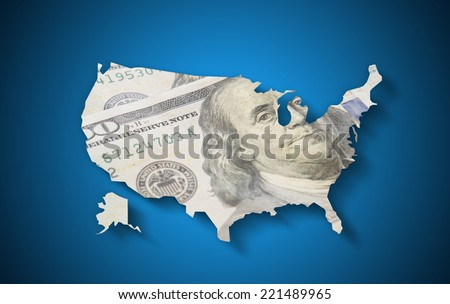USA  map with hundred dollar banknotes on blue background - stock photo
