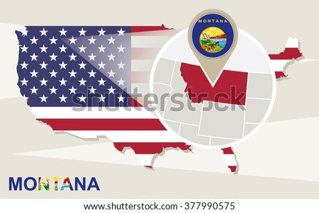 Usa Map Magnified New Hampshire State Stock Vector - Montana state usa map
