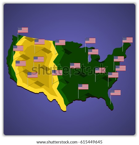 USA map with national flags.
