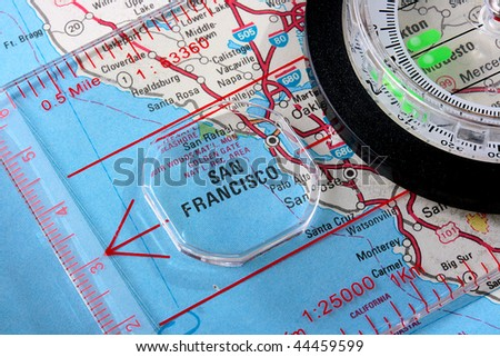 Usa Map City San Francisco Compass Stock Photo Shutterstock - Usa map with compass