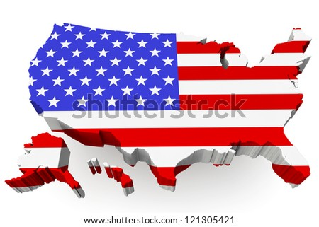 USA map with USA flag on a white background - stock photo