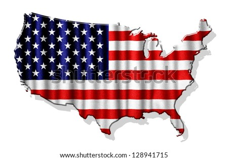 USA map with waving flag isolated on white background - stock photo