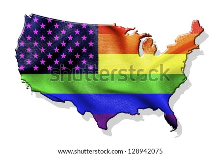 USA map with waving gay flag isolated on white background - stock photo