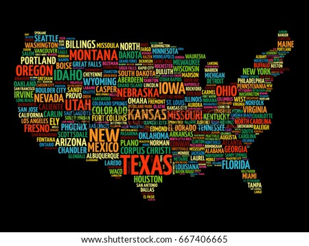 Map Usa Formed By Names Major Stock Illustration - Us map with california michigna wiscoinin arizona and florida highlithed