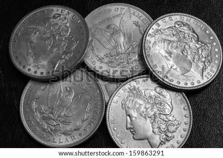 USA Morgan dollars ,from 19th century - stock photo