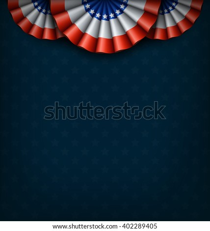 USA National Flags on Blue Background - stock photo