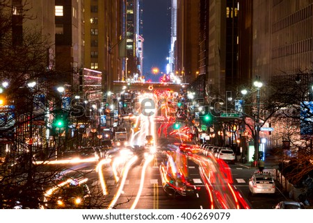 USA, New York City - December 25,2015: Night. Traffic at the intersection of 42nd street and 2nd Ave - stock photo