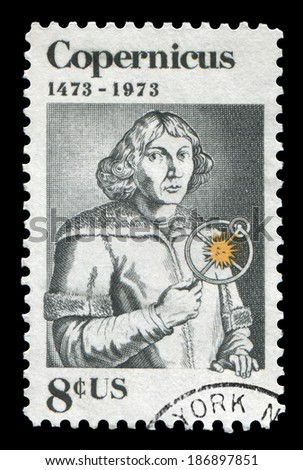 USA-1973: Nicolaus Copernicus(1473-1543), Polish astronomer. Issued by USPS in 1973, canceled in usage.