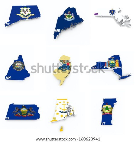 usa northeast states flags on 3d maps - stock photo