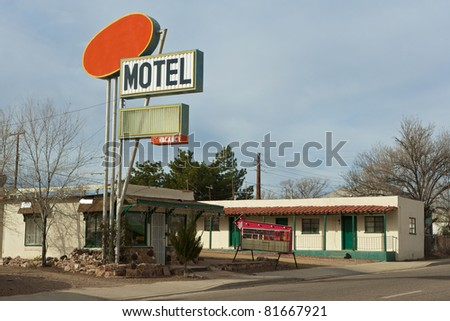 USA, Old motel at scenic Route 66 - stock photo