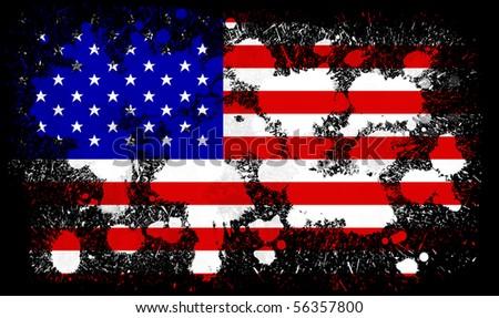 USA paint splatter flag - stock photo