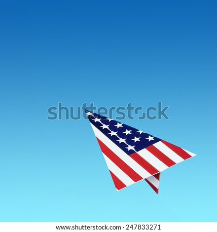 USA paper plane  - stock photo